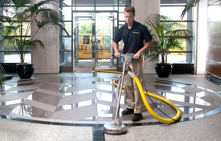 Commercial floor cleaning done by Stanley Steemer technician