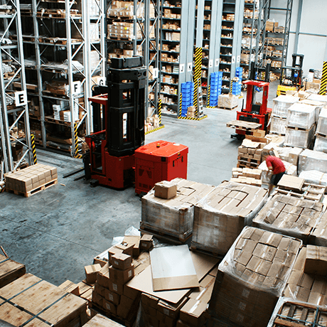 Boxes stacked up in industrial facility