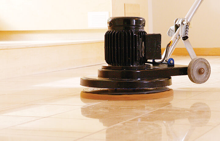 Polishing and buffing stone floors