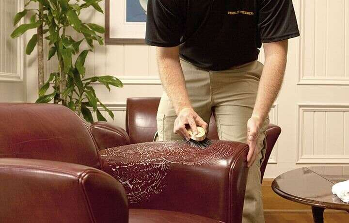 Stanley Steemer technician cleaning a brown leather chair.