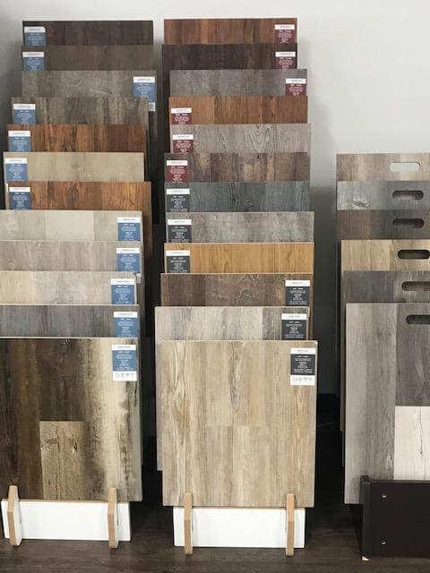 LVT flooring samples at Grand Rapids Stanley Steemer showroom