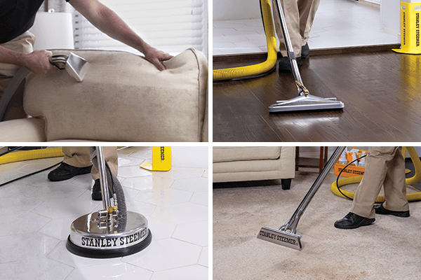 Technician cleaning upholstery, hardwood, tile, and carpet