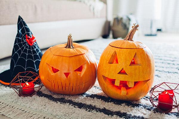 Jack-O-Lanterns on clean area rug