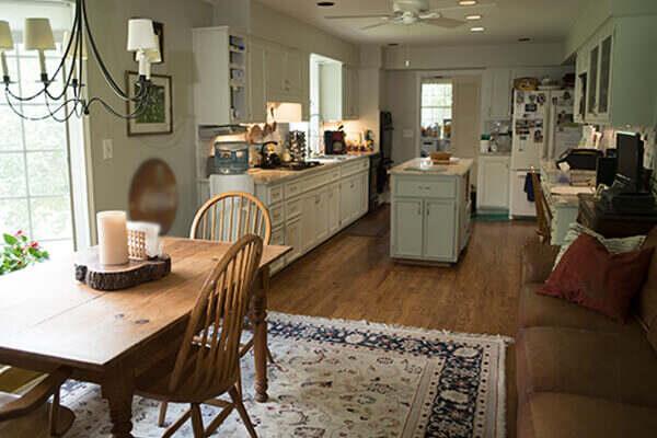 Clean hardwood floor in kitchen