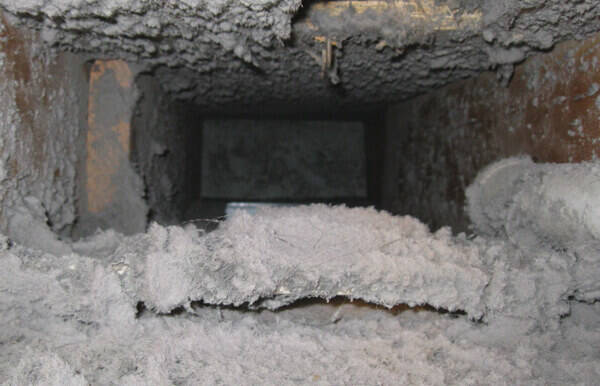 Dirty dust-filled air ducts that need to be professionally cleaned