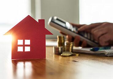 Hand on calculator with small hose figurine