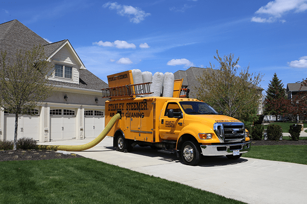 Air duct cleaning van outside of home