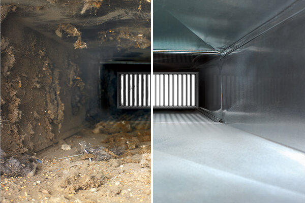 Before and after of commercial air duct cleaning