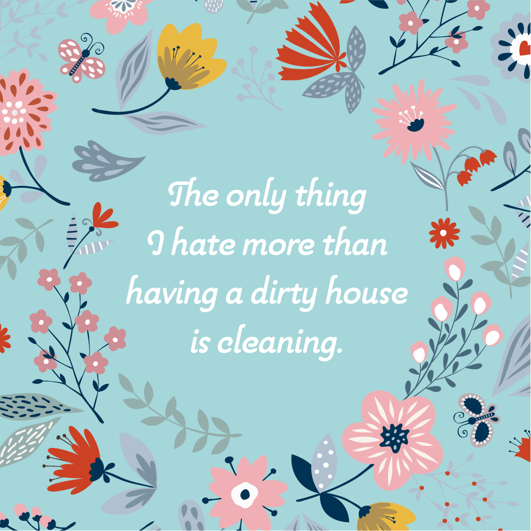 Text: The only thing I hate more than having a dirty house is cleaning.