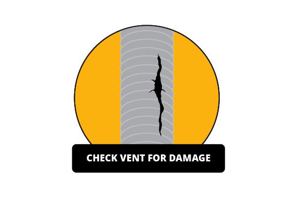 Illustration of damaged dryer duct