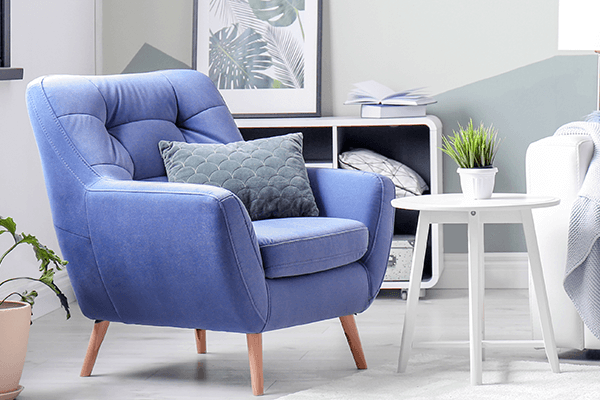 Blue Fabric Chair in Home