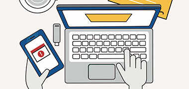 cartoon of person on laptop and phone