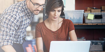 employees looking at online information