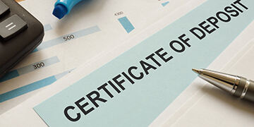 certificate of deposit CD is shown on the conceptual business photo