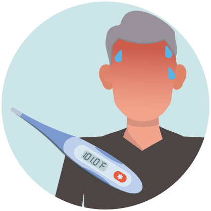 Person perspiring and thermometer indicating person has a fever