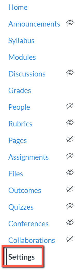 A screenshot showing the canvas course menu with settings highlighted