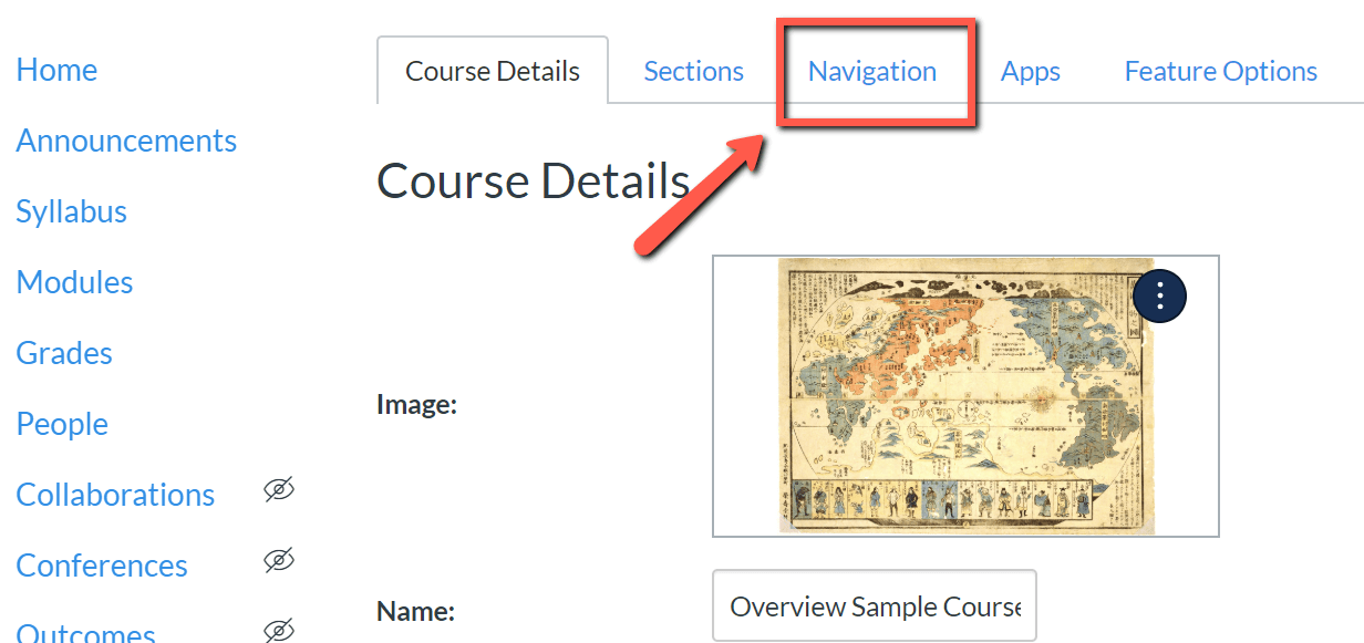 A screenshot highlighting the Navigation menu in the canvas course settings.