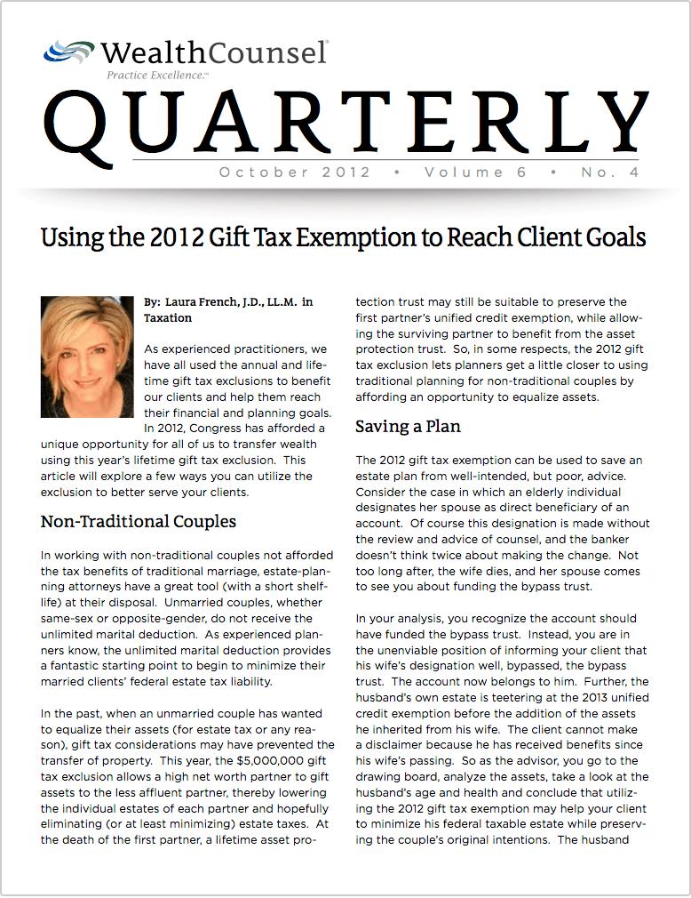 Gift Tax Exemption to Reach Client Goals