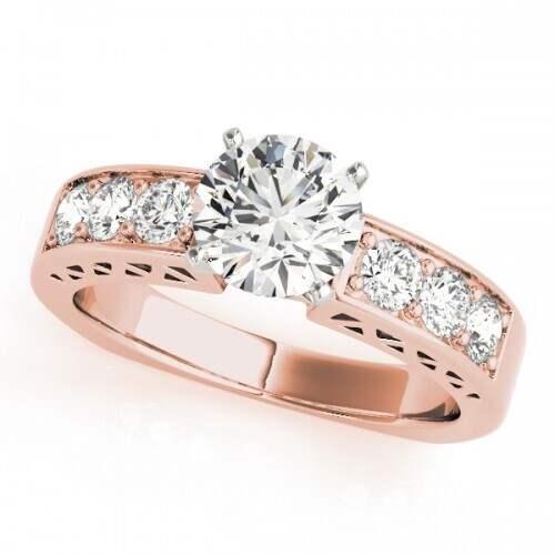 14k Rose Gold Diamond Channel Set Engagement Ring Dunkin S Diamonds