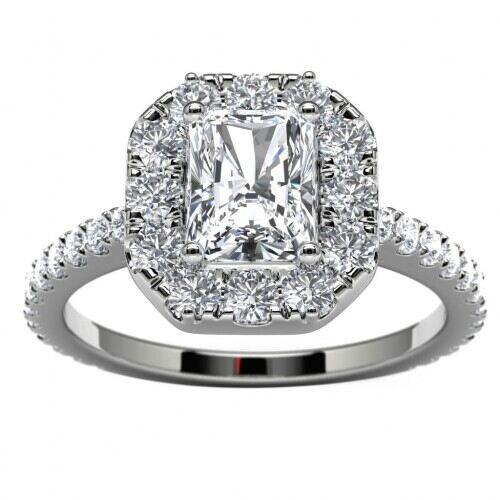 14k White Gold Radiant Diamond Halo Side Stone Engagement Ring Dunkin S Diamonds