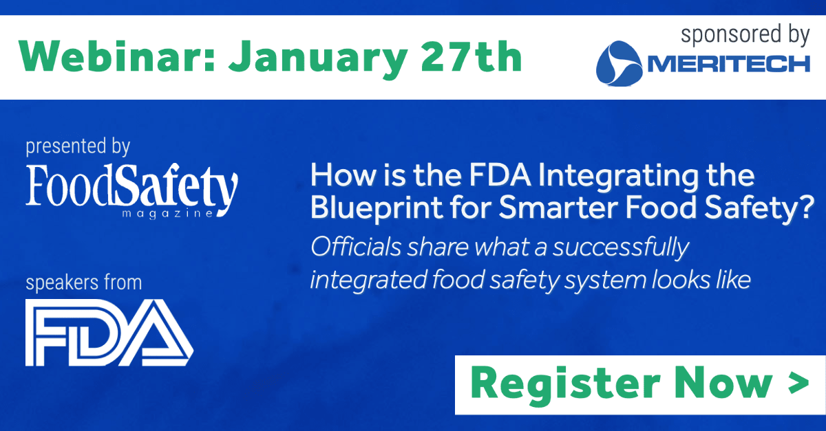 "Meritech to Sponsor Upcoming Webinar ""How the FDA is Integrating the Blueprint for Smarter Food Safety"""