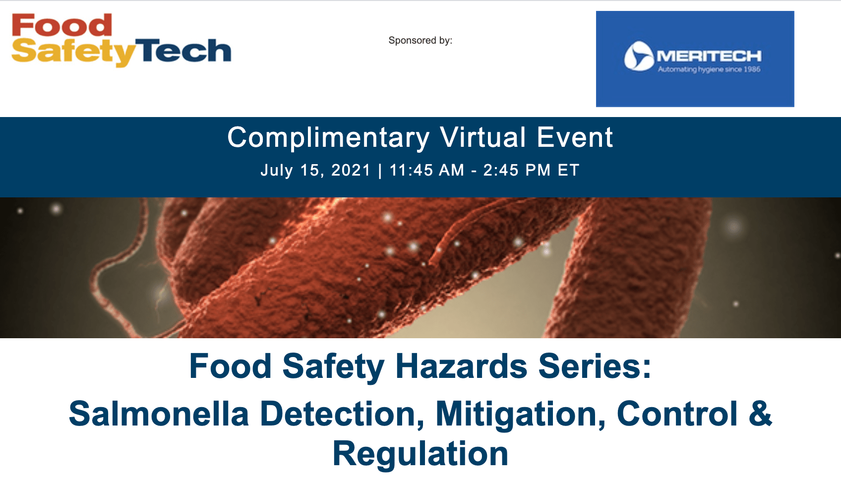 Meritech to Speak at Upcoming Salmonella Hazards Event with Food Safety Tech
