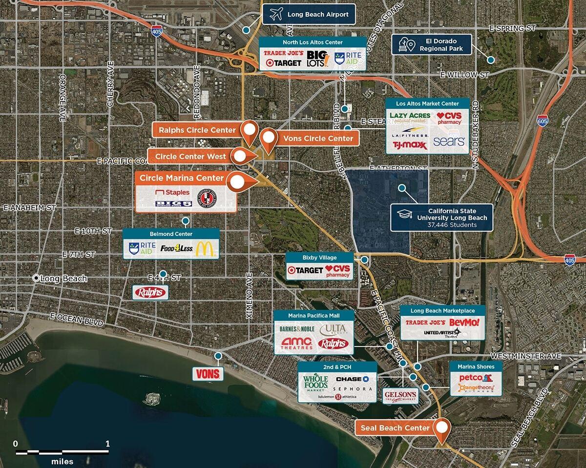 Circle Marina Center Trade Area Map for Long Beach, CA 90804