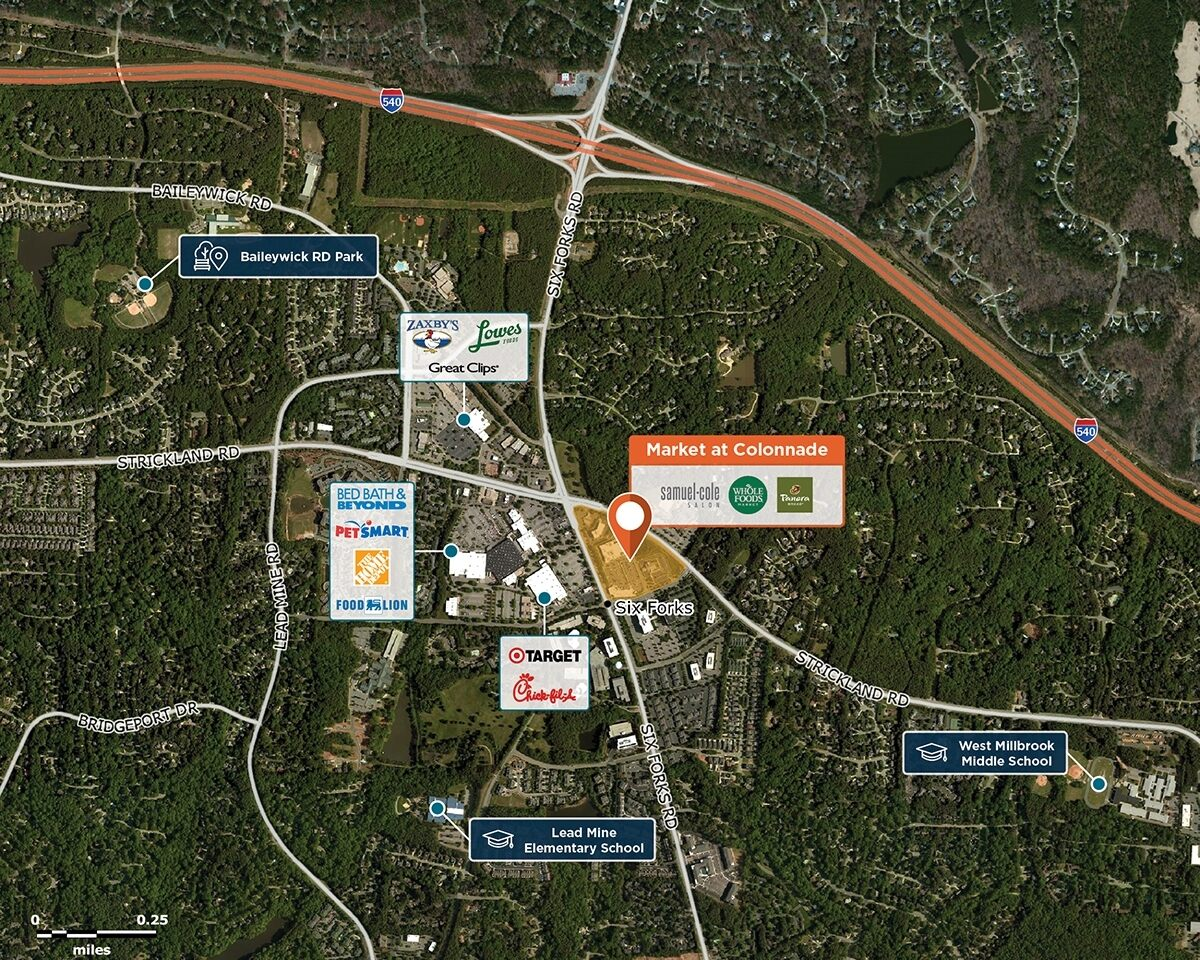 Market at Colonnade Center Trade Area Map for Raleigh, NC 27615