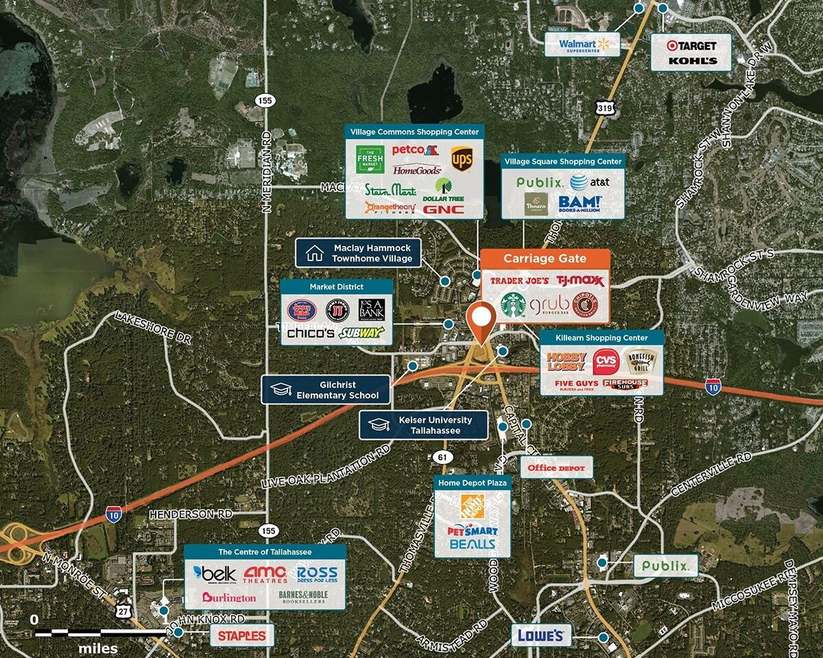 Carriage Gate Trade Area Map for Tallahassee, FL 32309
