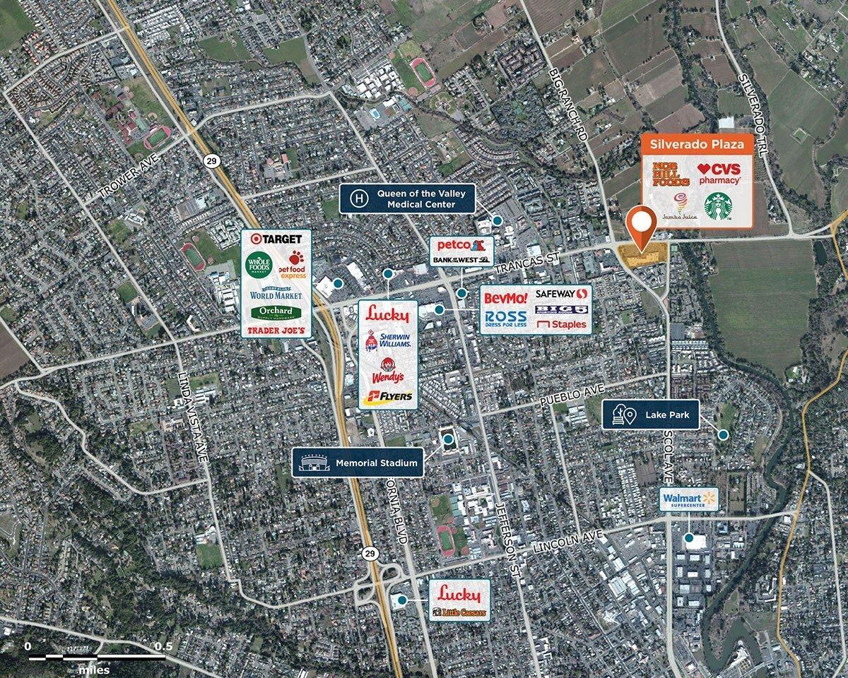 Silverado Plaza Trade Area Map for Napa, CA 94558