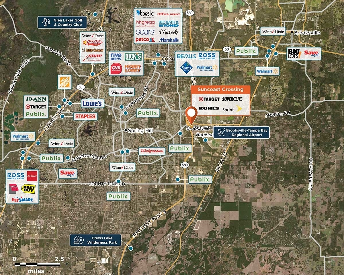 Suncoast Crossing Trade Area Map for Spring Hill, FL 34604