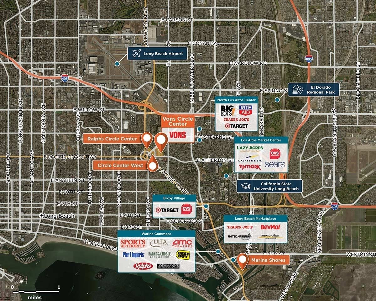 Vons Circle Center Trade Area Map for Long Beach, CA 90815