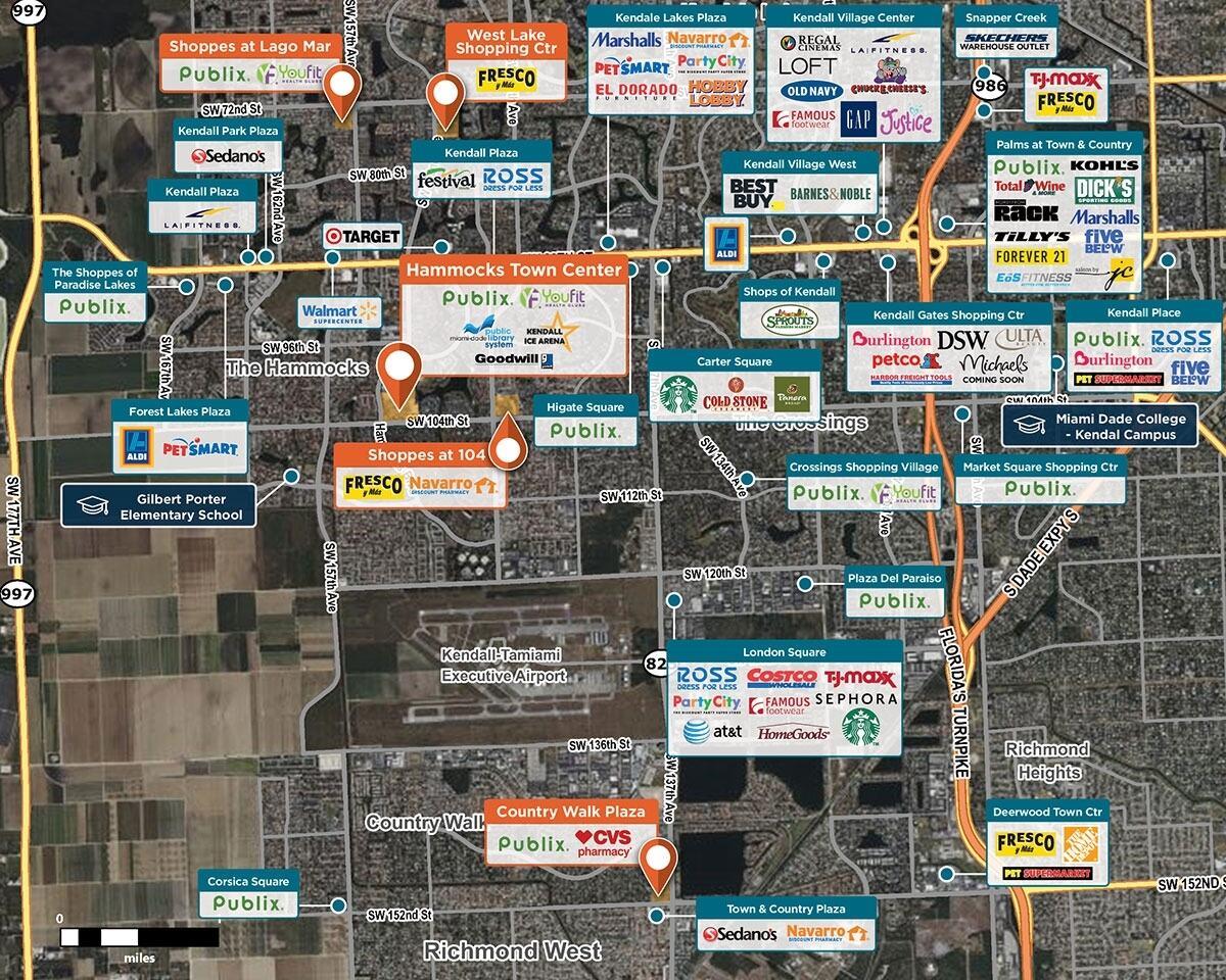 Hammocks Town Center Trade Area Map for Miami, FL 33196