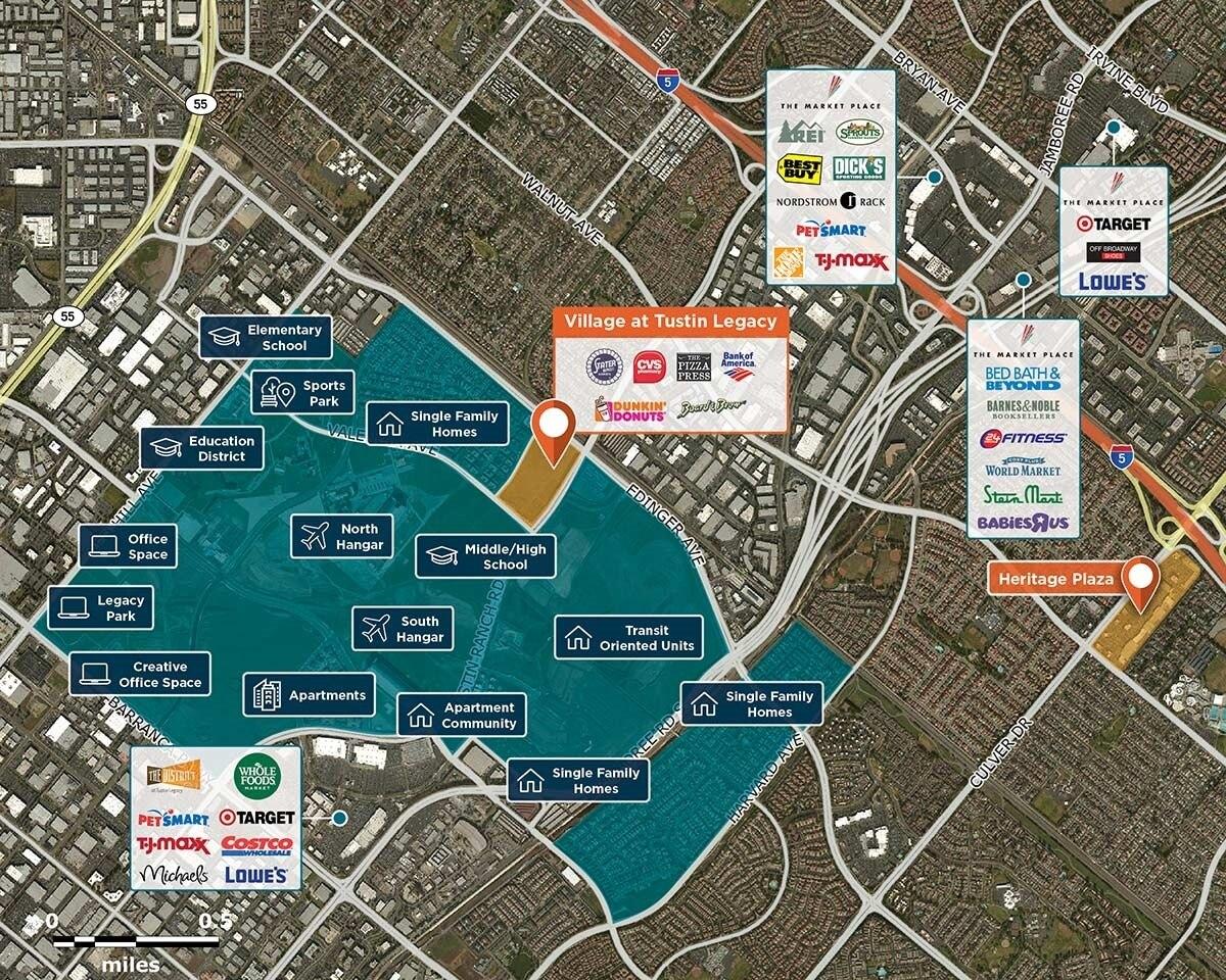 Village at Tustin Legacy Trade Area Map for Tustin, CA 92782