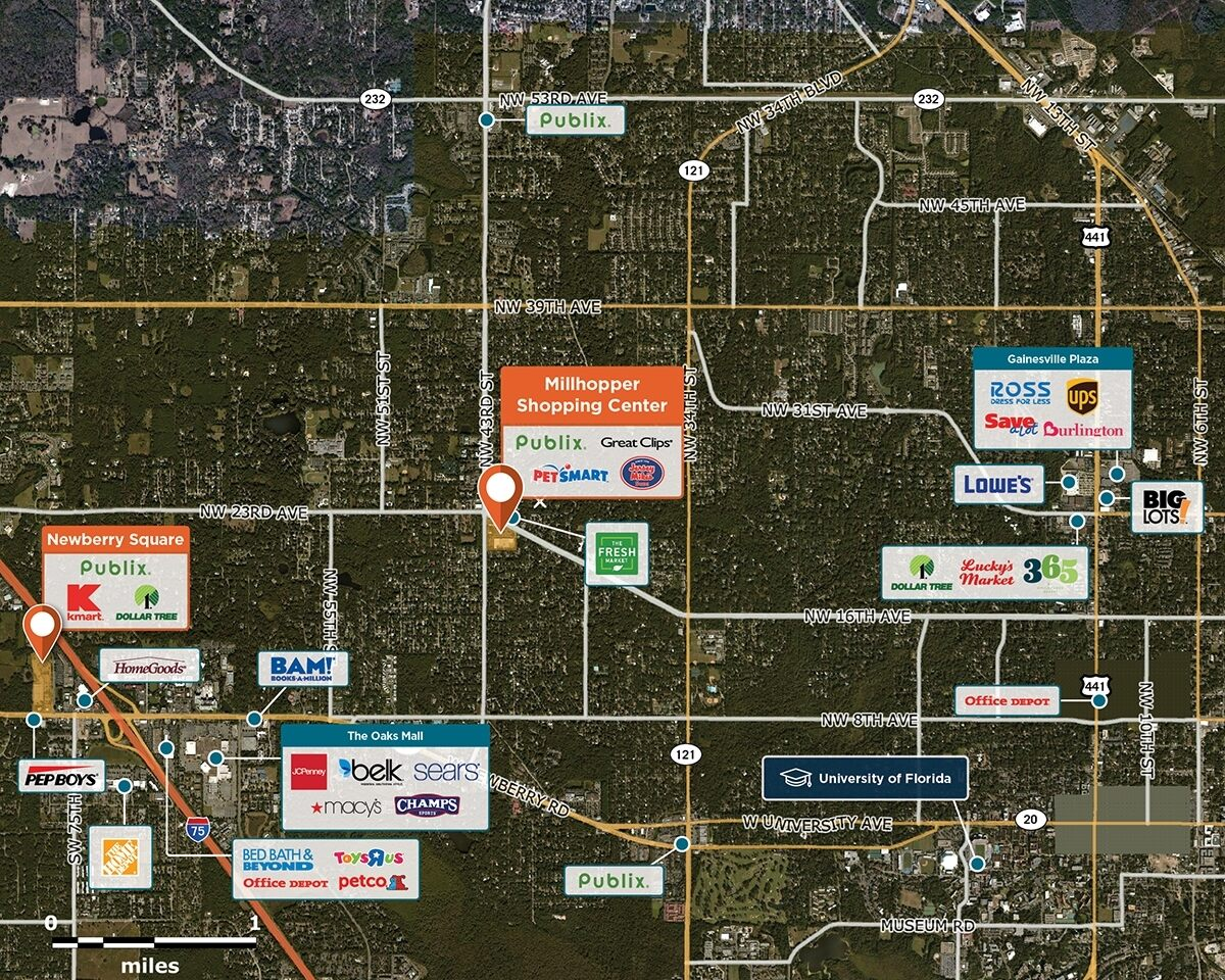 Millhopper Shopping Center Trade Area Map for Gainesville, FL 32605