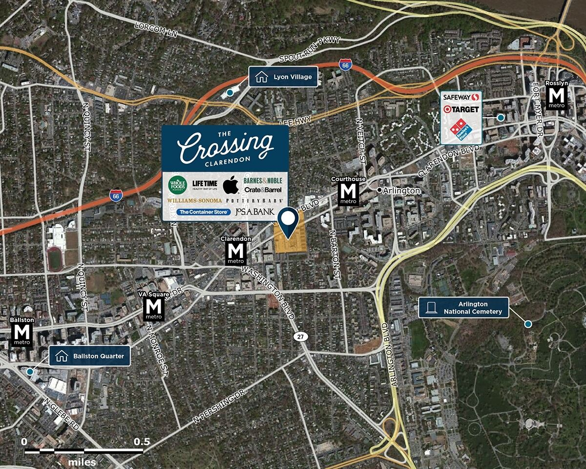 The Crossing Clarendon Trade Area Map for Arlington, VA 22201