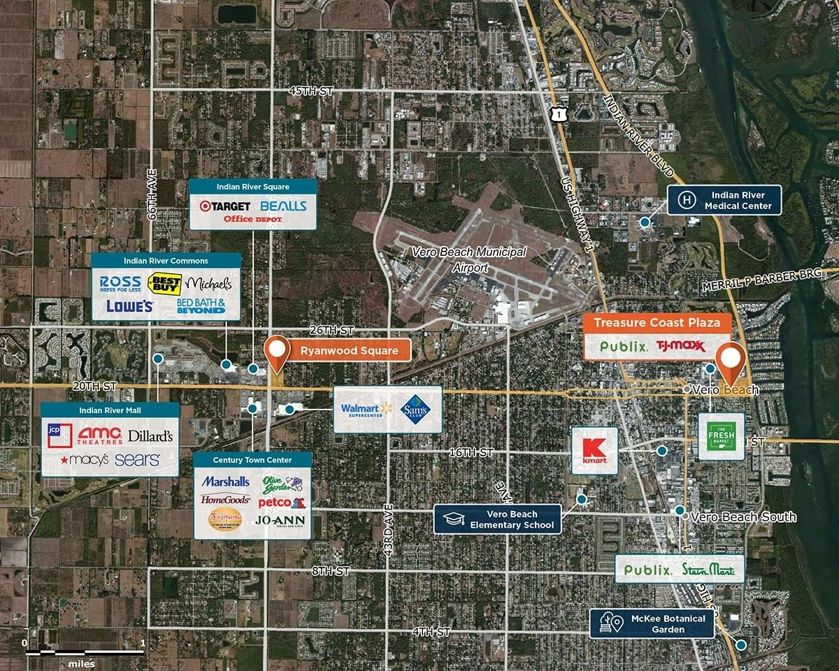 Treasure Coast Plaza Trade Area Map for Vero Beach, FL 32960