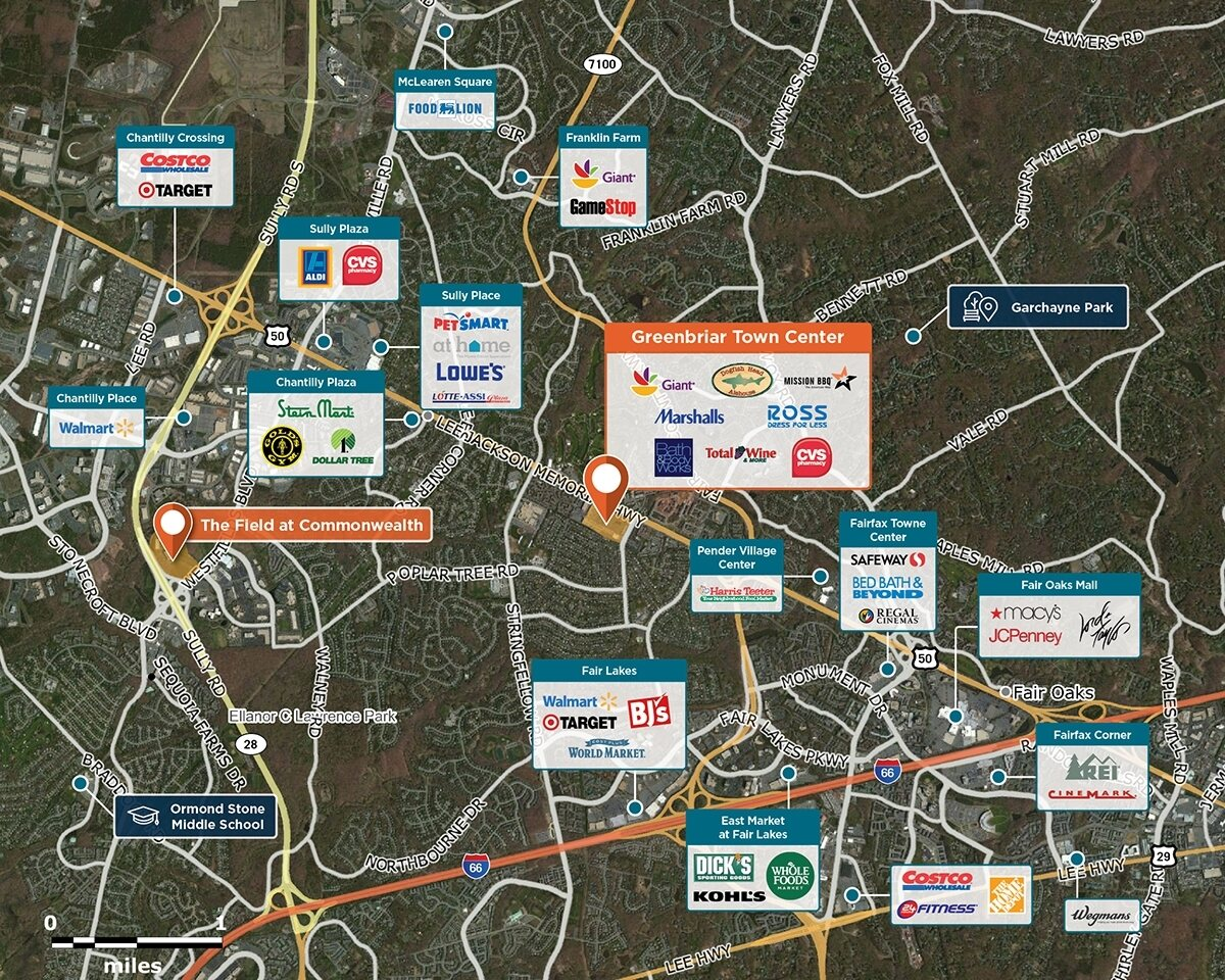 Greenbriar Town Center Trade Area Map for Fairfax, VA 22033