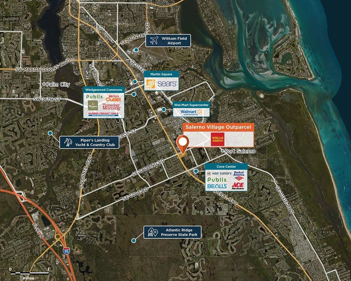 Salerno Village Outparcel Trade Area Map for Stuart, FL 34997