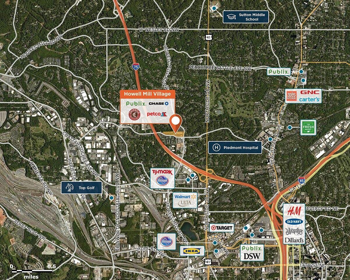Howell Mill Village Trade Area Map for Atlanta, GA 30318