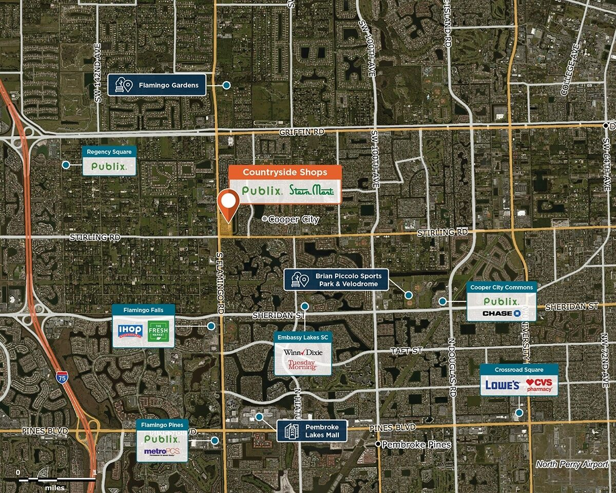 Countryside Shops Trade Area Map for Cooper City, FL 33330