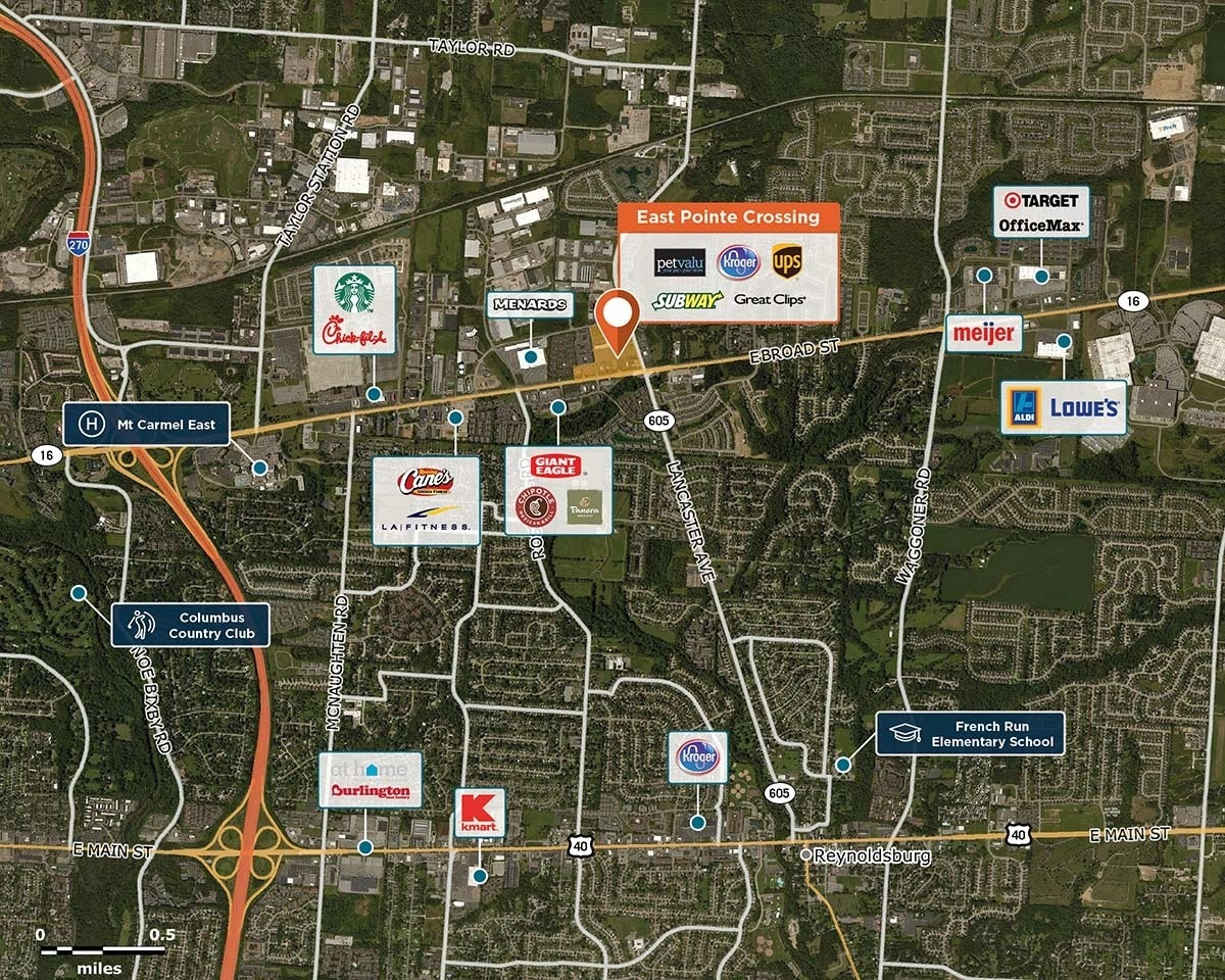 East Pointe Trade Area Map for Columbus, OH 43213