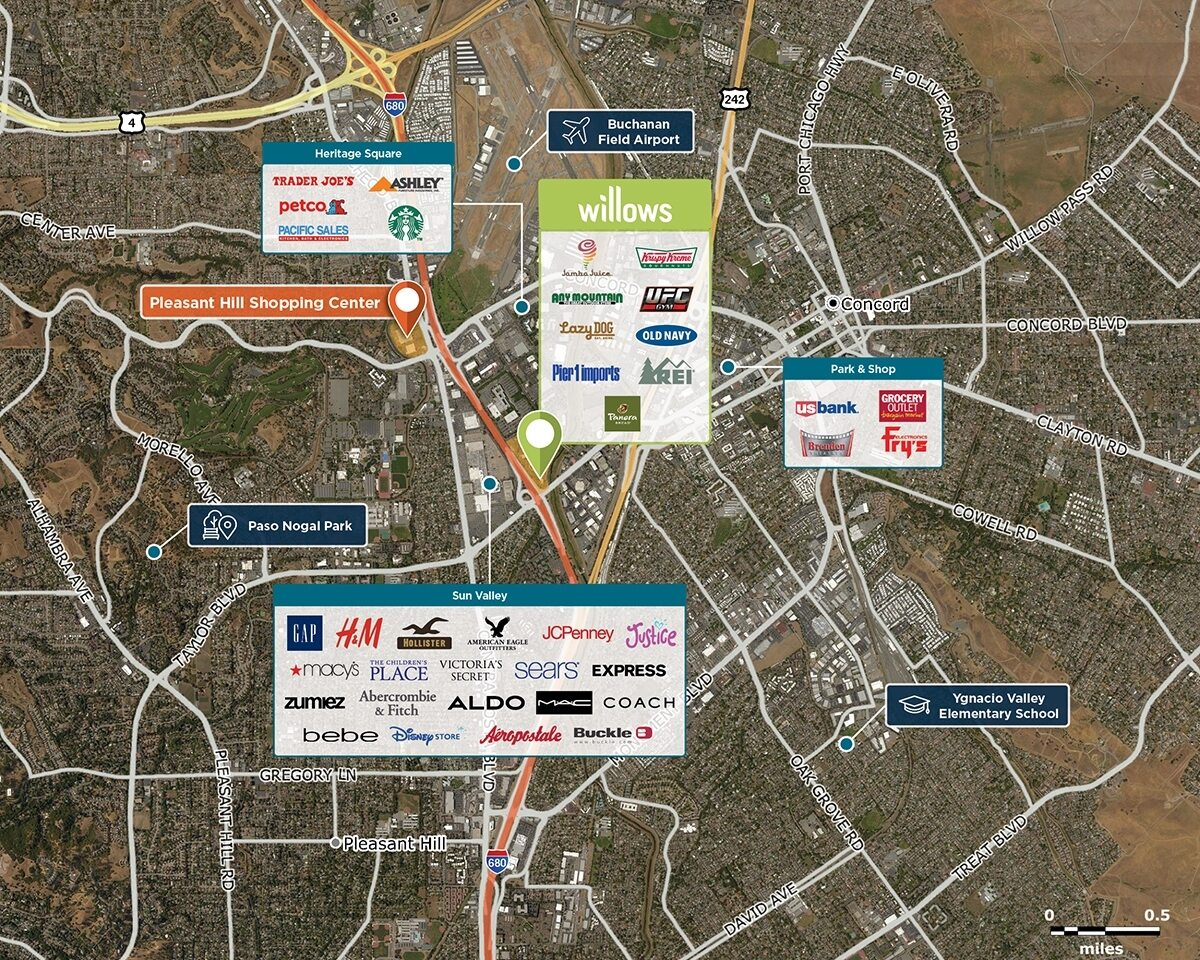 Willows Shopping Center Trade Area Map for Concord, CA 94520