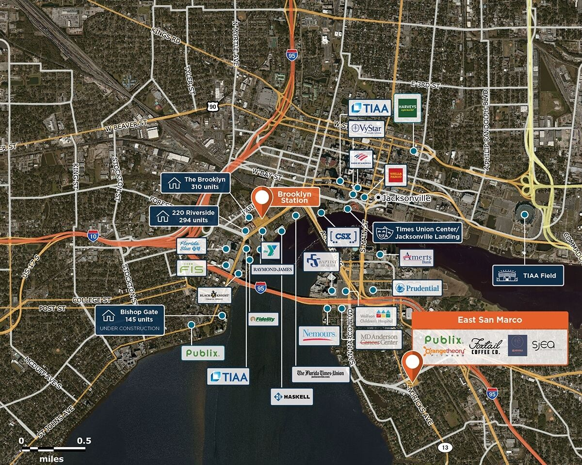 East San Marco Trade Area Map for Jacksonville, FL 32207