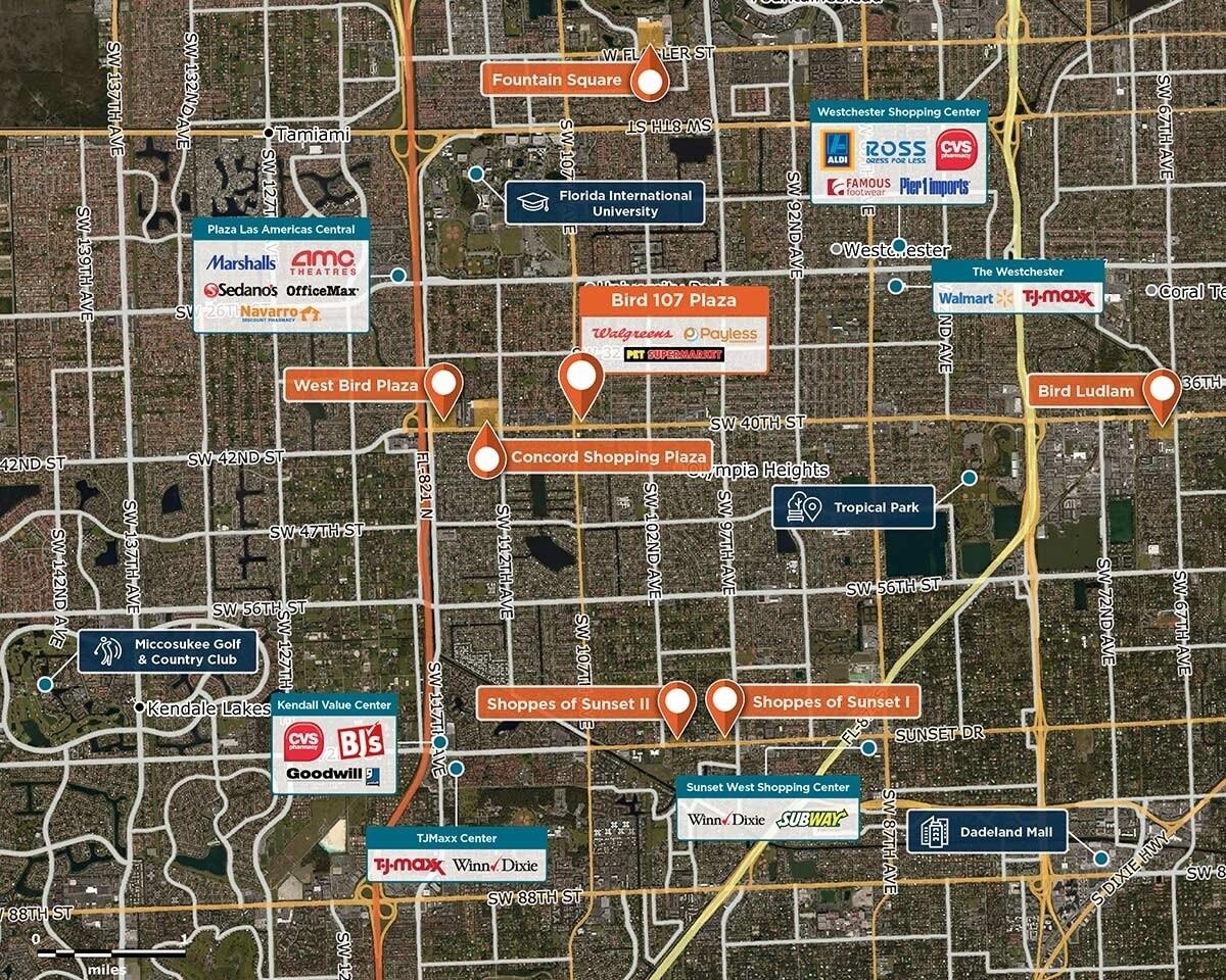 Bird 107 Plaza Trade Area Map for Miami, FL 33176