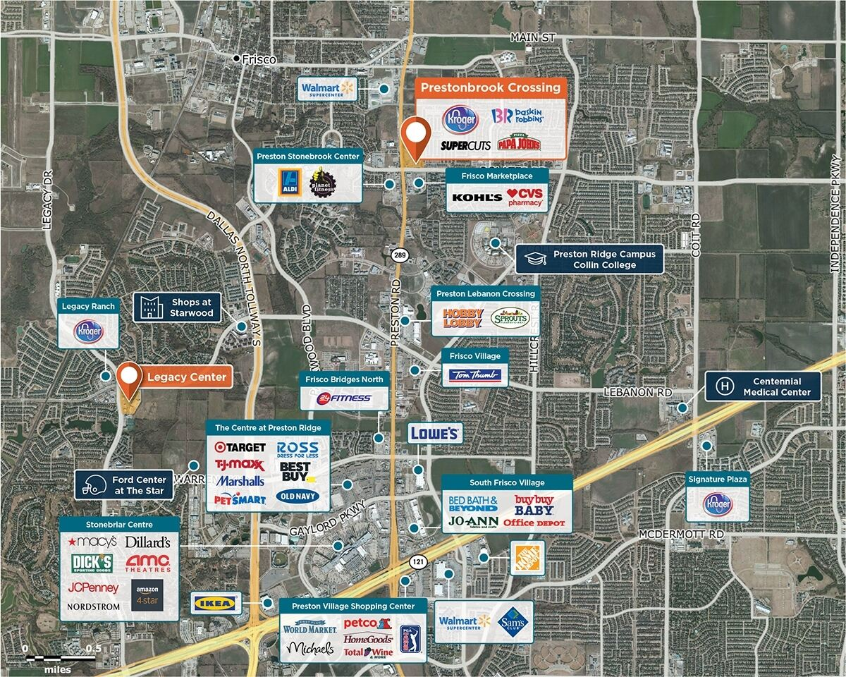 Prestonbrook Crossing Trade Area Map for Frisco, TX 75034