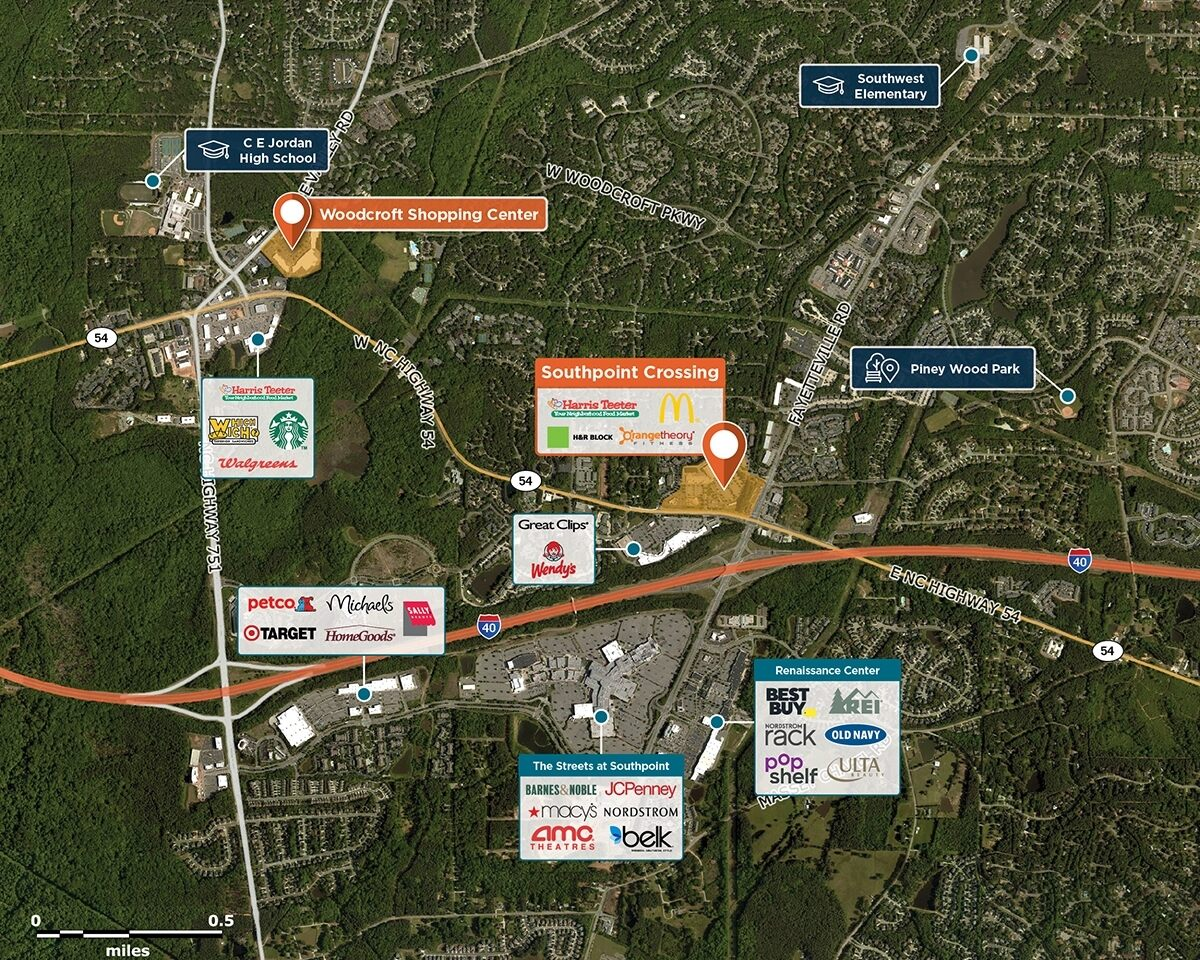 SouthPoint Crossing Trade Area Map for Durham, NC 27713