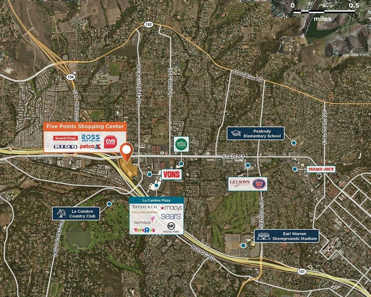 Five Points Shopping Center Trade Area Map for Santa Barbara, CA 93105