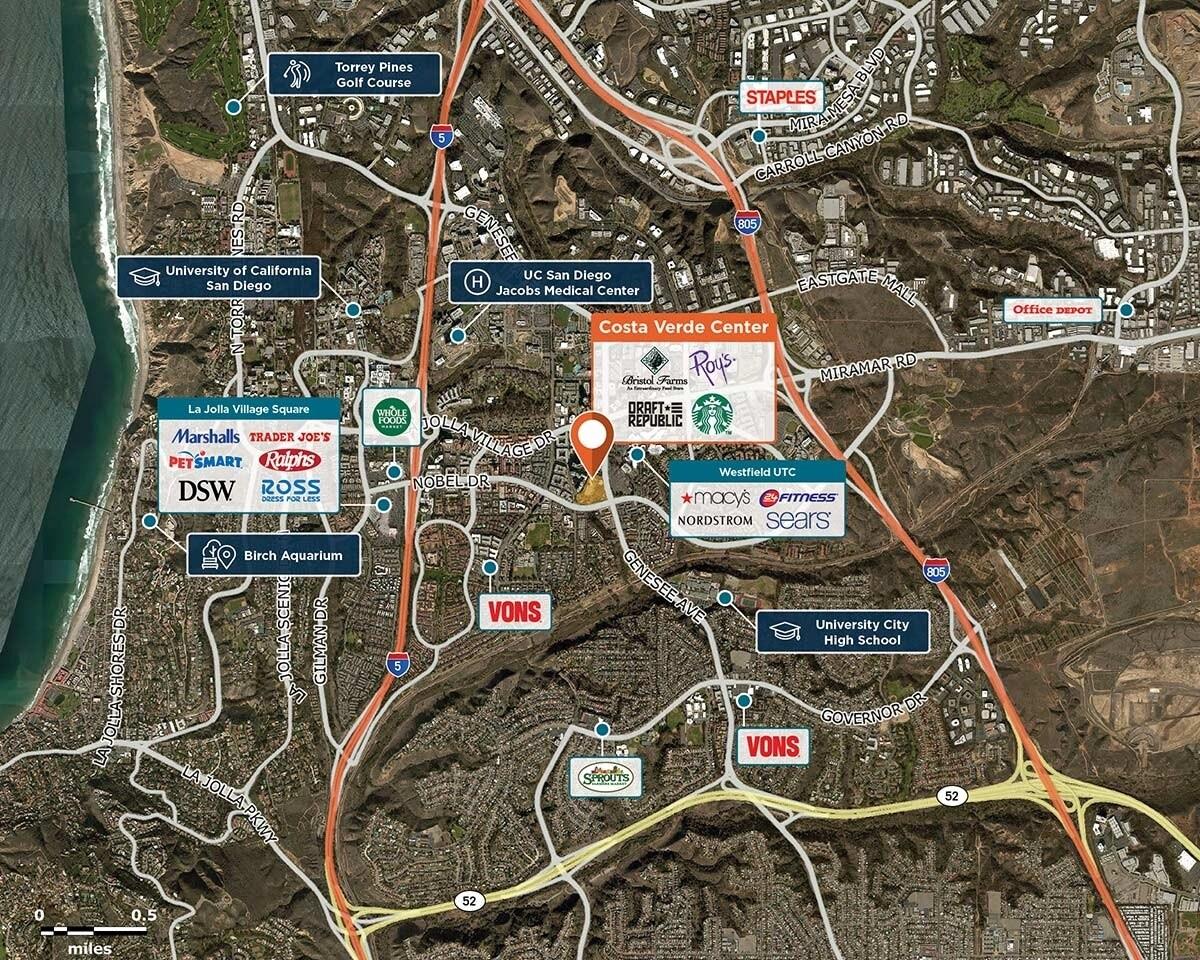 Costa Verde Center Trade Area Map for San Diego, CA 92122