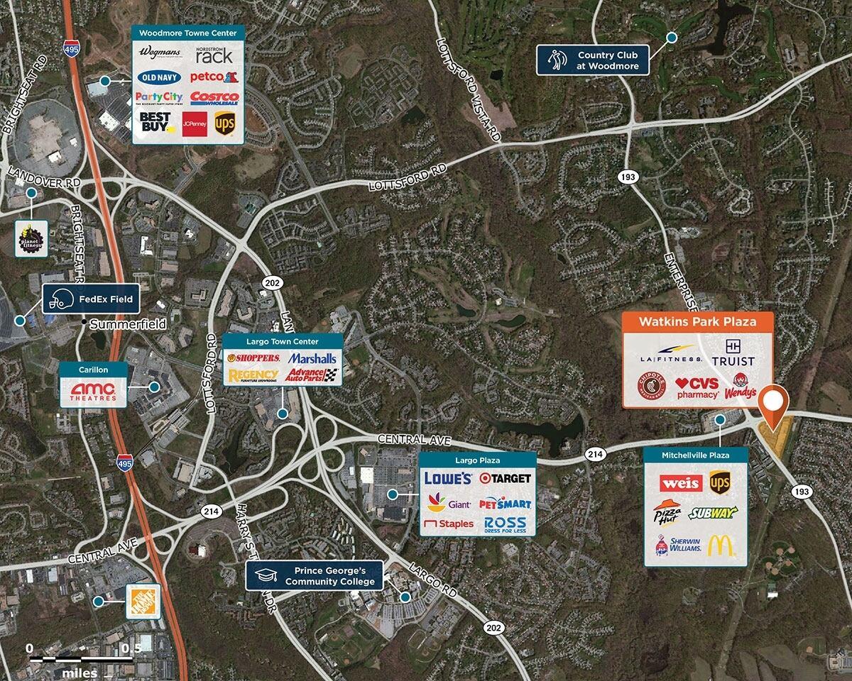 Watkins Park Plaza Trade Area Map for Upper Marlboro, MD 20774